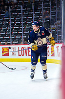 REGINA, SK - MAY 18:  Cameron Hebig #41 of Regina Pats warms up against the Hamilton Bulldogs at the Brandt Centre on May 18, 2018 in Regina, Canada. (Photo by Marissa Baecker/Shoot the Breeze)