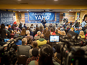 02 FEBRUARY 2020 - BOONE, IOWA: ANDREW YANG speaks at a campaign event in Boone, IA. More than 150 people crammed into a banquet room at La Carreta, a Mexican restaurant in Boone to see Andrew Yang on one of his last campaign events before the Iowa Caucuses. Yang, an entrepreneur, is running for the Democratic nomination for the US Presidency in 2020. He is in central Iowa finishing his 17 day bus tour across the state. Iowa hosts the the first election event of the presidential election cycle. The Iowa Caucuses will be on Feb. 3, 2020.         PHOTO BY JACK KURTZ