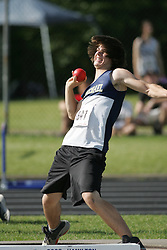 London, Ontario ---07/06/08--- Eric Barnes of St. Michael in Kemptville competes in the Shot put at the 2008 OFSAA Track and Field meet in Hamilton, Ontario..Sean Burges