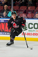 KELOWNA, BC - JANUARY 16:Jett Woo #4 of the Moose Jaw Warriors skates with the puck against the Kelowna Rockets at Prospera Place on January 16, 2019 in Kelowna, Canada. (Photo by Marissa Baecker/Getty Images)