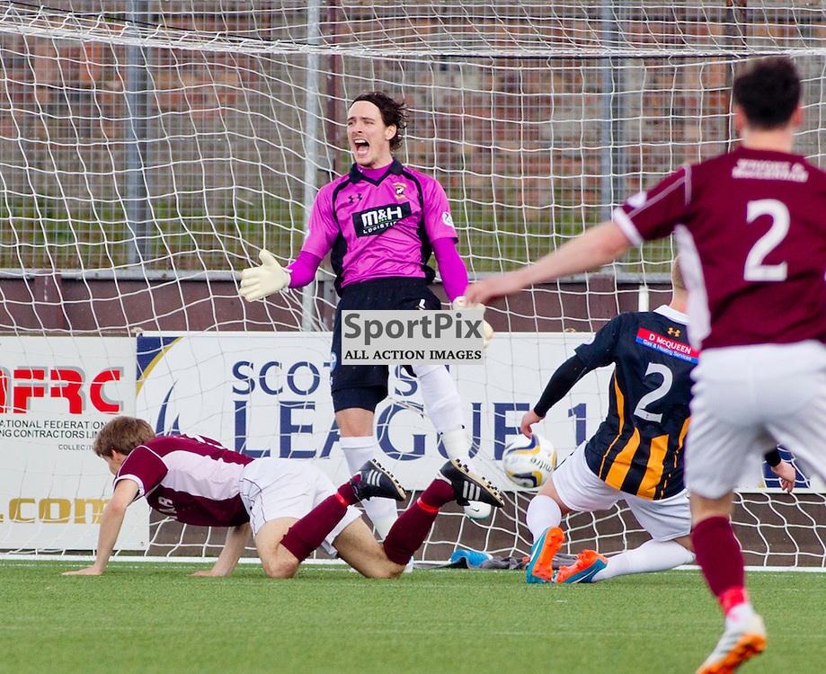 Stenhousemuir v East Fife SPFL League One Semi Final Play Off 2nd Leg Ochilview Park 09 May 2015<br /> Kieran Miller makes it 1-0<br /> CRAIG BROWN | sportPix.org.uk