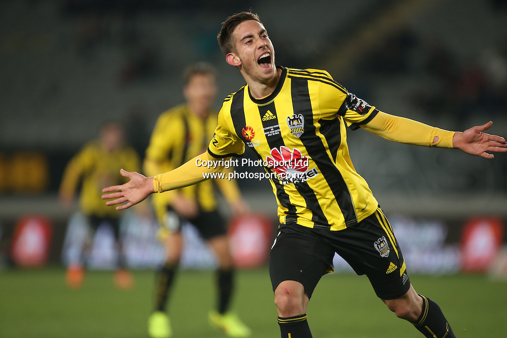 Alejandro Rodriguez of the Wellington Phoenix celebrates his goal during the Wellington Phoenix vs West Ham United football match played at Eden Park in Auckland on 23 July 2014. <br /> Credit; Peter Meecham/ www.photosport.co.nz