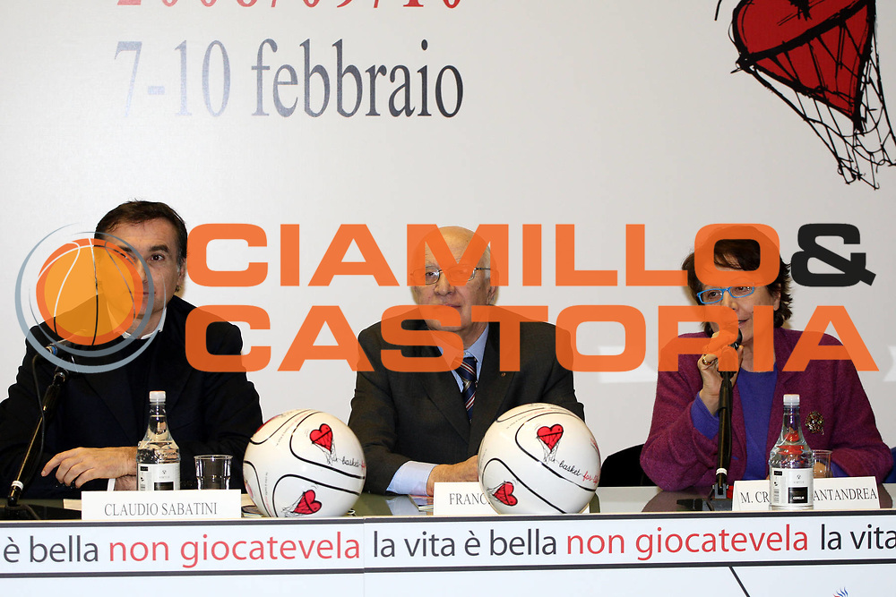 DESCRIZIONE : Bologna Sala Borsa Final Eight 2008 Conferenza Stampa di Presentazione <br /> GIOCATORE : Claudio Sabatini Francesco Corrado Santandrea <br /> SQUADRA : <br /> EVENTO : Tim Cup Basket For Life Coppa Italia Final Eight 2008 <br /> GARA : <br /> DATA : 05/02/2008 <br /> CATEGORIA : <br /> SPORT : Pallacanestro <br /> AUTORE : Agenzia Ciamillo-Castoria/L.Villani