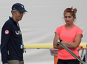 "Rio de Janeiro. BRAZIL.   USA W1X, Gevvie STONE with coach, Greg STONE, checking and adjusting the rigging, 2016 Olympic Rowing Regatta. Lagoa Stadium,<br /> Copacabana,  ""Olympic Summer Games""<br /> Rodrigo de Freitas Lagoon, Lagoa.   Tuesday  09/08/2016 <br /> <br /> [Mandatory Credit; Peter SPURRIER/Intersport Images]"