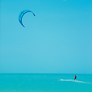 Kite surfing in Holbox Island. Quintana Roo, Mexico.
