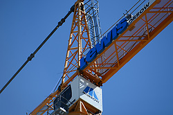 April 30, 2019 - Seattle, Washington, U.S - A general view of a  construction crane that stands high at a Capital Hill construction site in Seattle, WA. (Credit Image: © Jeff Halstead/ZUMA Wire)