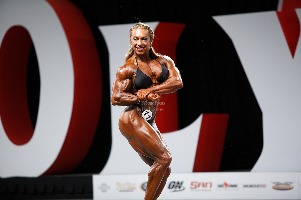 Yaxeni Oriquen-Garcia on stage at the pre-judging for the 2009 Olympia Women's Ms. Olympia bodybuilding competition in Las Vegas.