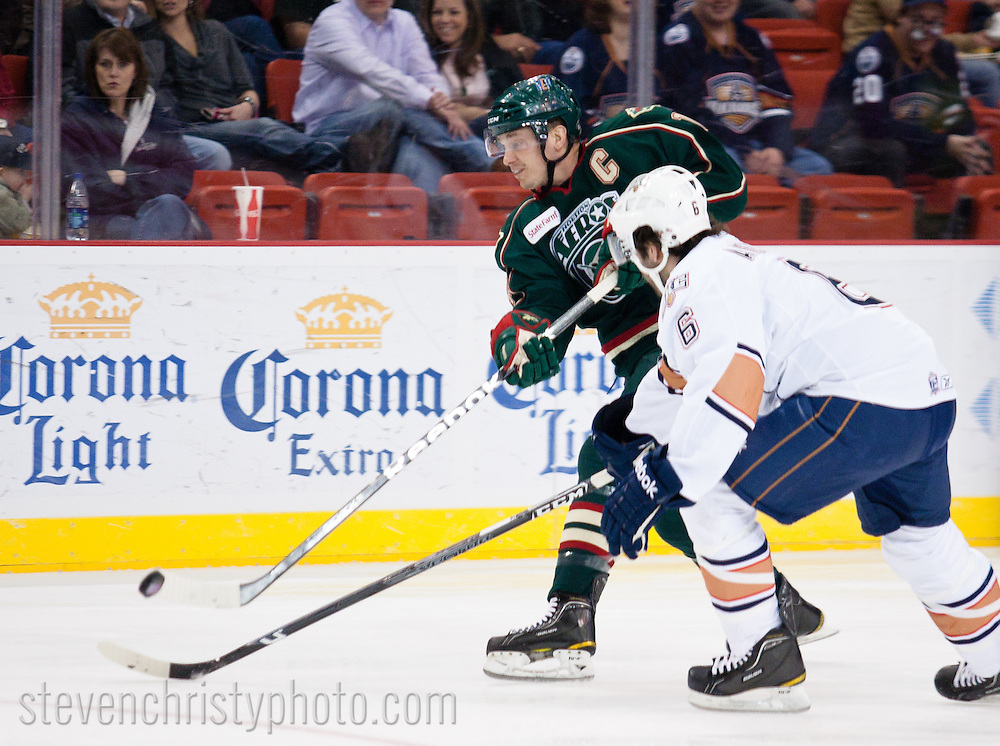 February 26, 2011: The Oklahoma City Barons play the Houston Aeros in an American Hockey League game at the Cox Convention Center in Oklahoma City.