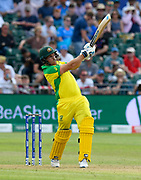 Aaron Finch of Australia hits the ball over the boundary for six runs during the ICC Cricket World Cup 2019 match between Afghanistan and Australia at the Bristol County Ground, Bristol, United Kingdom on 1 June 2019.