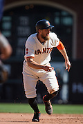 San Francisco Giants right fielder Hunter Pence (8) reacts to a foul ball against the San Diego Padres at AT&T Park in San Francisco, Calif., on September 14, 2016. (Stan Olszewski/Special to S.F. Examiner)