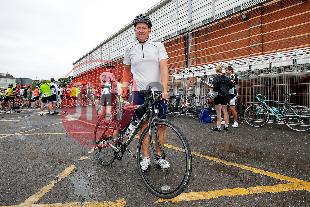 Cyclists (257) take part in Break the Cycle, a 110 mile charity bike ride organised by the Bristol, Bath and Gloucester Rugby Community Foundations, visiting their respective stadia, Ashton Gate, The Recreation Ground and Kingsholm Stadium - Photo mandatory by-line: Rogan Thomson/JMP - 07966 386802 - 14/06/2015 - SPORT - Cycling - Bristol, England - Ashton Gate Stadium.
