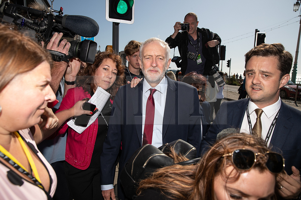 © Licensed to London News Pictures . 21/09/2019. Brighton, UK. JEREMY CORBYN walks along the promenade ahead of the start of the first day of the 2019 Labour Party Conference from the Brighton Centre . Photo credit: Joel Goodman/LNP