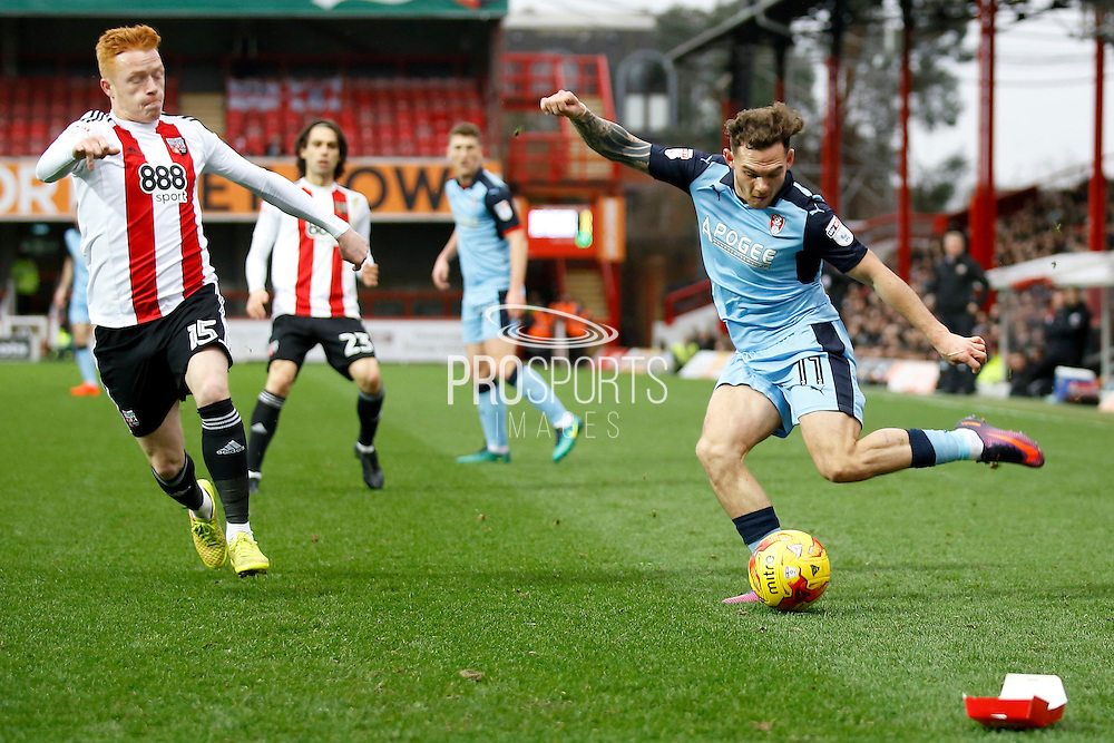 Rotherham United midfielder Jon Taylor (11) looks to get a cross in to the box during the EFL Sky Bet Championship match between Brentford and Rotherham United at Griffin Park, London, England on 25 February 2017. Photo by Andy Walter.