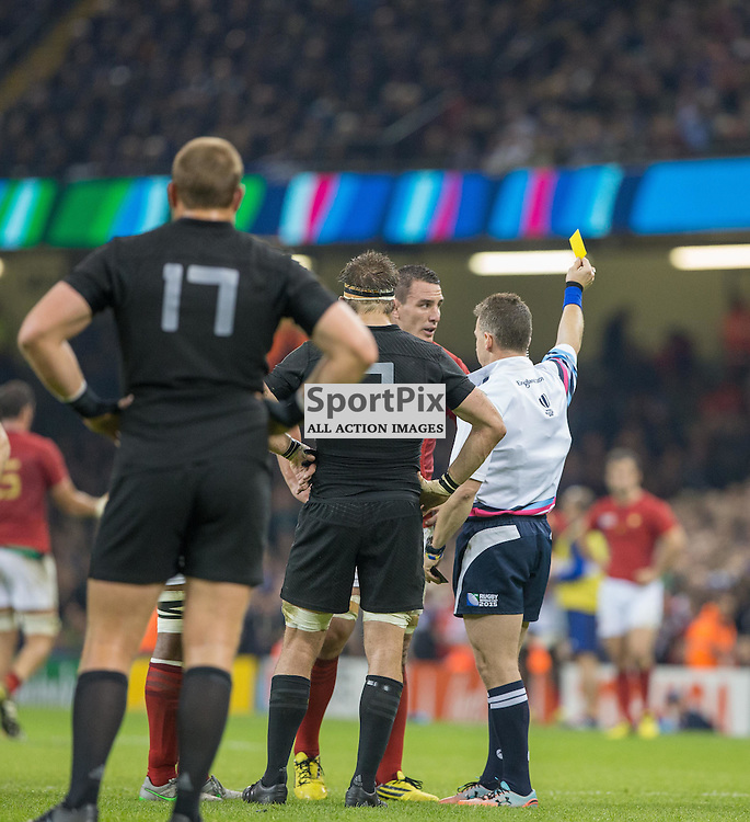 Refereee Nigel Owens shows Louis Picamoles the yellow card during the Rugby World Cup Quarter Final, New Zealand v France, Saturday 17 October 2015, Millenium Stadium, Cardiff (Photo by Mike Poole - Photopoole)