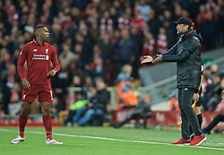 LIVERPOOL, ENGLAND - Friday, April 26, 2019: Liverpool's manager Jürgen Klopp speaks with Daniel Sturridge during the FA Premier League match between Liverpool FC and Huddersfield Town AFC at Anfield. (Pic by David Rawcliffe/Propaganda)