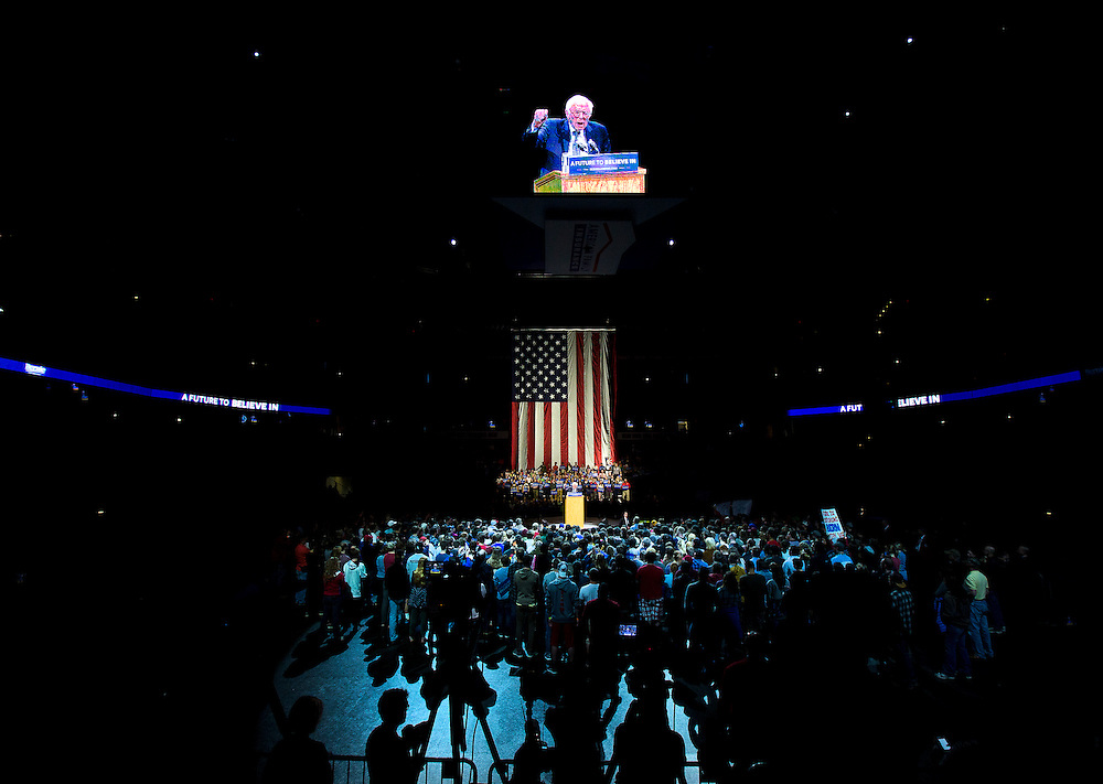 """U.S. Democratic Presidential candidate Senator Bernie Sanders (I-Vt.) speaks at the """"Future to Believe In"""" Rally at the Kohl Center in Madison, Wisconsin April 3, 2016."""