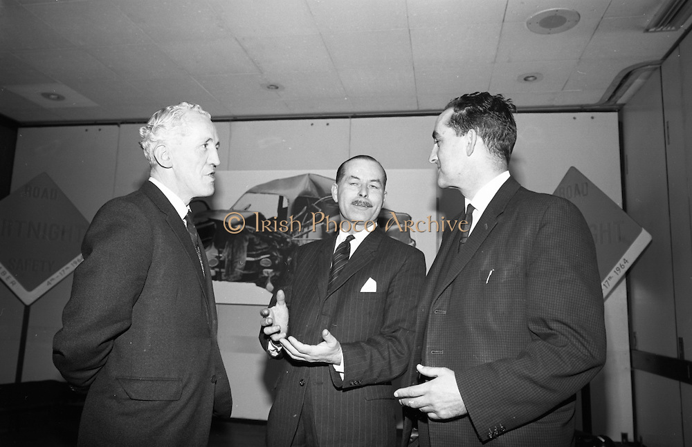 Road Safety Fortnight..1964..18.12.1964..12.18.1964..18th December 1964..After a fortnight of publicity and campaigning for better road safety, the Minister for Local Government, Mr Neil Blaney TD, met with road safety officials to review the results of the campaign. The press conference was held at the Intercontinental Hotel, Dublin...Picture shows Mr M Mc Guigan, Asst Principal Officer, Dept Of Local Government; Mr H James, Irish Shell and BP and Mr Maurice O'Flynn, Henry Ford and Co, Cork, members of the Road Safety Committee.