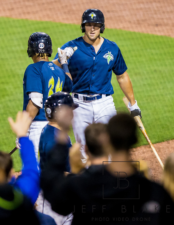 Columbia Fireflies left fielder Tim Tebow during a game at Spirit Communications Park on April 24, 2017. Photo by Jeff Blake/Jeff Blake Photography