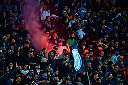 NAPLES, ITALY - Wednesday, October 3, 2018: Napoli supporters set off a red flare during the UEFA Champions League Group C match between S.S.C. Napoli and Liverpool FC at Stadio San Paolo. (Pic by David Rawcliffe/Propaganda)