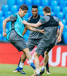 17.05.2016, St. Jakob Park, Basel, SUI, UEFA EL, FC Liverpool vs Sevilla FC, Finale, im Bild Roberto Firmino (FC Liverpool), Daniel Sturridge (FC Liverpool), Adam Lallana (FC Liverpool) // Roberto Firmino (FC Liverpool), Daniel Sturridge (FC Liverpool), Adam Lallana (FC Liverpool) during the Training in front of the Final Match of the UEFA Europaleague between FC Liverpool and Sevilla FC at the St. Jakob Park Stadium in Basel, Switzerland on 2016/05/17. EXPA Pictures © 2016, PhotoCredit: EXPA/ JFK