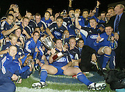 24 May 2003, Eden Park Auckland, Rugby Union, Xtra Super 12 Final, Auckland Blues vs Canterbury Crusaders.<br />Blue's team after the final on Saturday night.<br />Pic: Marty Melville/Photosport