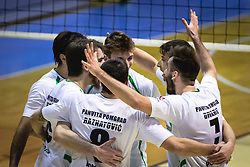 Rejoicing of players of Panvita Pomgrad during volleyball match between Panvita Pomgrad and Šoštanj Topolšica of 1. DOL Slovenian National Championship 2019/20, on December 14, 2019 in Osnovna šola I, Murska Sobota, Slovenia. Photo by Blaž Weindorfer / Sportida