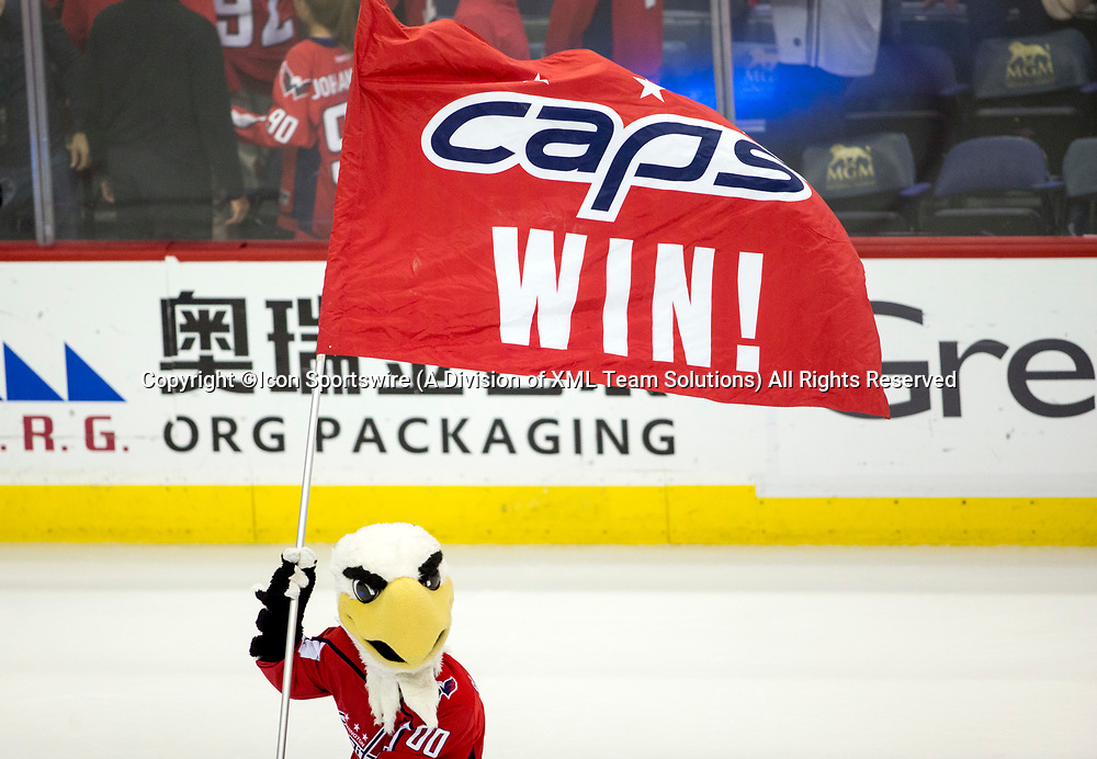 WASHINGTON, DC - MAY 21: Slapshot with the good news at the end of game 6 of the NHL Eastern Conference  Finals between the Washington Capitals and the Tampa Bay Lightning, on May 21, 2018, at Capital One Arena, in Washington D.C. The Caps defeated the Lightning 3-0<br /> (Photo by Tony Quinn/Icon Sportswire)