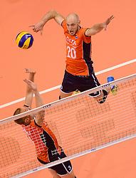 20150620 NED: World League Nederland - Portugal, Groningen<br /> De Nederlandse volleyballers hebben in de World League het vierde duel met Portugal verloren. Na twee uitzeges en de 3-0 winst van vrijdag boog de ploeg van bondscoach Gido Vermeulen zaterdag in Groningen met 3-2 voor de Portugezen: (25-15, 21-25, 23-25, 25-21, 11-15) / Jasper Diefenbach #20