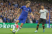 Chelsea defender Marcos Alonso (3) during the Champions League match between Chelsea and Valencia CF at Stamford Bridge, London, England on 17 September 2019.