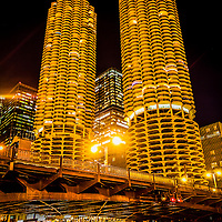Picture of Chicago Marina City Towers and State Street bridge at night. Marina City is a residential complex of two round buildings located  along the Chicago River.