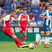 BARCELONA, SPAIN - August 18:  Joan Jordan #24 of Sevilla in action during the Espanyol V  Sevilla FC, La Liga regular season match at RCDE Stadium on August 18th 2019 in Barcelona, Spain. (Photo by Tim Clayton/Corbis via Getty Images)