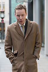 © Licensed to London News Pictures. 08/12/2015. London, UK.  GEORGE BINGHAM, the son of Lord Lucan, leaving the High Court (Rolls Building) in London for a hearing to deal with preliminary issues in his bid to obtain a death certificate for his father, Lord Lucan who disappeared over 40 years ago. Lord Bingham has applied to the court under the Presumption of Death Act, so he can inherit the title as eighth earl.  Photo credit : Vickie Flores/LNP