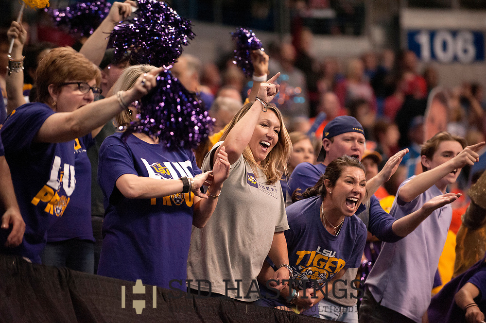 21 APRIL 2018 -- ST. LOUIS -- LSU gymnastics fans cheer the Tigers during the 2018 NCAA Women's Gymnastics Championship Super Six at Chaifetz Arena in St. Louis Saturday, April 21, 2018. The Tigers finished fourth in the nation during the meet.<br /> Photo &copy; copyright 2018 Sid Hastings.
