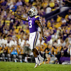 Sep 14, 2019; Baton Rouge, LA, USA; LSU Tigers safety JaCoby Stevens (3) celebrates after a missed field goal during the second quarter against the Northwestern State Demons at Tiger Stadium. Mandatory Credit: Derick E. Hingle-USA TODAY Sports