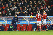 Nottingham Forest manager Martin O'Neill gets the ball back to his players during the EFL Sky Bet Championship match between Nottingham Forest and Bristol City at the City Ground, Nottingham, England on 19 January 2019.
