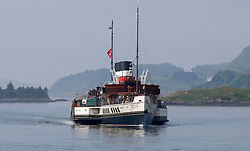 The world's last seagoing passenger paddle steamer the PS Waverley departing Oban for a day trip to Iona and Staffa via the Sound of Mull....... (c) Stephen Lawson | Edinburgh Elite media