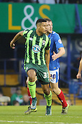 Lyle Taylor of AFC Wimbledon fails to get a shot on target during the Sky Bet League 2 match between Portsmouth and AFC Wimbledon at Fratton Park, Portsmouth, England on 15 November 2015. Photo by Stuart Butcher.