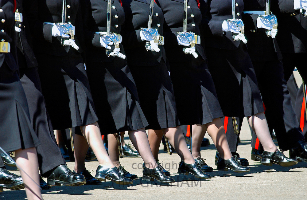Soldiers marking during the Passing Out Parade at Sandhurst Royal Military Academy, Surrey.