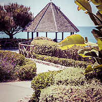 Laguna Beach California gazebo retro photo. Laguna Beach is a beach community along the Pacific Ocean in Orange County Southern California.