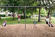 (from left) Lauren, 5; Bryce, 8; Eli, 4  and Christian Taylor of Dayton at Shafor Park in Oakwood, Sunday, June 9, 2013.