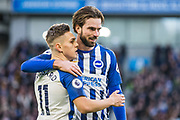 Leondro Trossard (Brighton) celebrates his goal with Davy Propper (Brighton) during the Premier League match between Brighton and Hove Albion and Aston Villa at the American Express Community Stadium, Brighton and Hove, England on 18 January 2020.