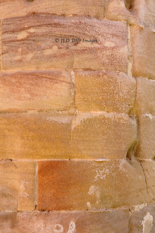 Yorkshire, Fountains Abbey ruins: ashlar masonry of a column in the nave.