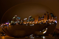 "Cloud Gate at Night in Millennium Park in Chicago, this popular sculpture is also called ""the bean"""