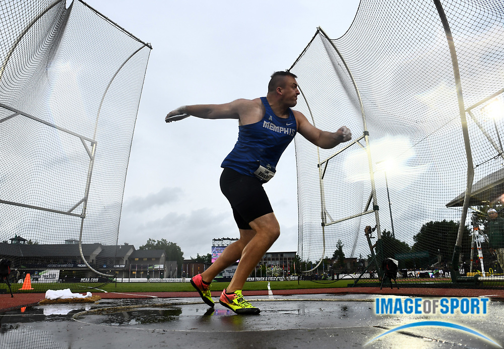 Jun 8, 2018; Eugene, OR, USA; Luke Vaughn of Memphis wins the discus with a throw of 198-2 (60.41m) during the NCAA Track and Field championships at Hayward Field.