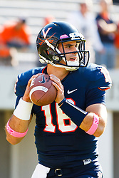 Oct 22, 2011; Charlottesville VA, USA;  Virginia Cavaliers quarterback Michael Rocco (16) warms up before the game against the North Carolina State Wolfpack at Scott Stadium.  North Carolina State defeated Virginia 28-14. Mandatory Credit: Jason O. Watson-US PRESSWIRE