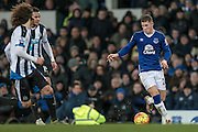Ross Barkley (Everton) runs at the Newcastle defence during the Barclays Premier League match between Everton and Newcastle United at Goodison Park, Liverpool, England on 3 February 2016. Photo by Mark P Doherty.