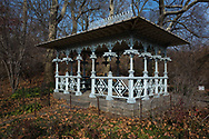 The Ladies Pavilion at the Hearnshead in Central Park,  designed by architect Jacob Wrey Mould in 1871 as a shelter for trolley passengers, originally sat near the Park's Eighth Avenue and 59th Street entrance.  When construction began on the Maine Monument in 1912, the pavilion was relocated inside the Park.