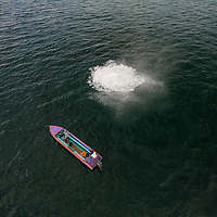 Arial of a fishing boat, Kota Kinabalu, Borneo, Malaysia, South China Sea,