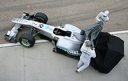 Motorsports / Formula 1: World Championship 2011, Test Valencia, Nico Rosberg (GER, Mercedes GP Petronas), Michael Schumacher (GER, Mercedes GP Petronas), with the new Mercedes GP car MGP W02