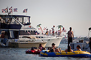Revelers arrived hours, and in many cases, days in advance for Barron Hilton's fireworks show near Venice Island in the Delta, July 4, 2010.